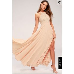 Lulus lace blush bridesmaids dress